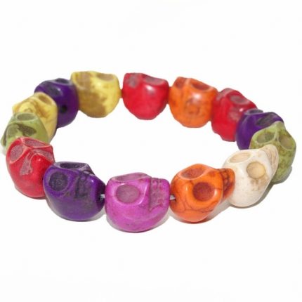 Multi-coloured Skull stretchy bracelet